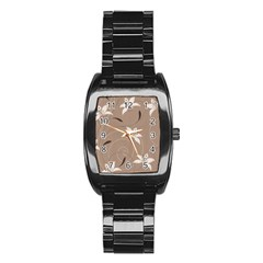 Star Flower Floral Grey Leaf Stainless Steel Barrel Watch by Mariart