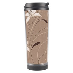 Star Flower Floral Grey Leaf Travel Tumbler by Mariart