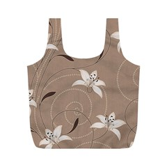 Star Flower Floral Grey Leaf Full Print Recycle Bags (m)  by Mariart