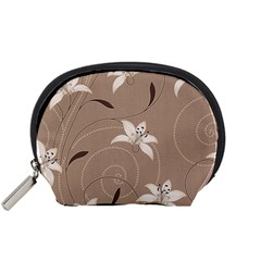 Star Flower Floral Grey Leaf Accessory Pouches (small)  by Mariart