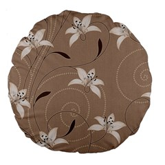 Star Flower Floral Grey Leaf Large 18  Premium Flano Round Cushions by Mariart