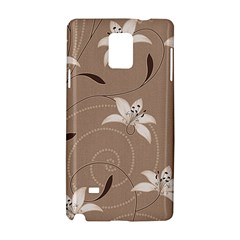 Star Flower Floral Grey Leaf Samsung Galaxy Note 4 Hardshell Case by Mariart