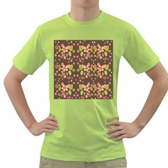 Floral Pattern Green T Shirt by Valentinaart