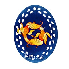 Zodiac Pisces Oval Filigree Ornament (two Sides) by Mariart