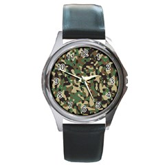 Army Camouflage Round Metal Watch by Mariart
