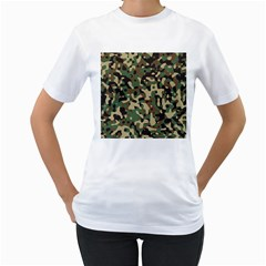 Army Camouflage Women s T Shirt (white) (two Sided) by Mariart