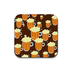 A Fun Cartoon Frothy Beer Tiling Pattern Rubber Coaster (square)  by Nexatart