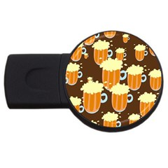 A Fun Cartoon Frothy Beer Tiling Pattern Usb Flash Drive Round (2 Gb) by Nexatart