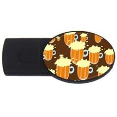 A Fun Cartoon Frothy Beer Tiling Pattern Usb Flash Drive Oval (2 Gb) by Nexatart
