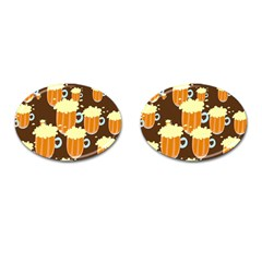 A Fun Cartoon Frothy Beer Tiling Pattern Cufflinks (oval) by Nexatart
