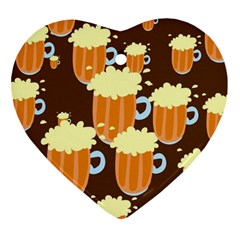 A Fun Cartoon Frothy Beer Tiling Pattern Heart Ornament (two Sides) by Nexatart