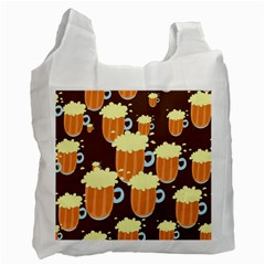 A Fun Cartoon Frothy Beer Tiling Pattern Recycle Bag (one Side) by Nexatart