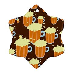 A Fun Cartoon Frothy Beer Tiling Pattern Snowflake Ornament (two Sides)
