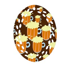 A Fun Cartoon Frothy Beer Tiling Pattern Oval Filigree Ornament (two Sides) by Nexatart