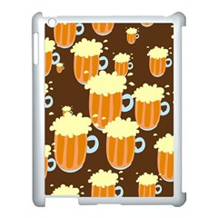 A Fun Cartoon Frothy Beer Tiling Pattern Apple Ipad 3/4 Case (white) by Nexatart