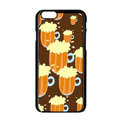 A Fun Cartoon Frothy Beer Tiling Pattern Apple Iphone 6/6s Black Enamel Case by Nexatart