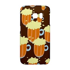 A Fun Cartoon Frothy Beer Tiling Pattern Galaxy S6 Edge by Nexatart