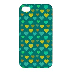 Hearts Seamless Pattern Background Apple Iphone 4/4s Premium Hardshell Case by Nexatart