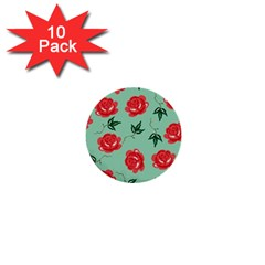 Red Floral Roses Pattern Wallpaper Background Seamless Illustration 1  Mini Buttons (10 Pack)