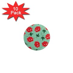 Red Floral Roses Pattern Wallpaper Background Seamless Illustration 1  Mini Magnet (10 Pack)  by Nexatart