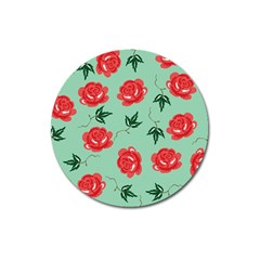 Red Floral Roses Pattern Wallpaper Background Seamless Illustration Magnet 3  (round) by Nexatart