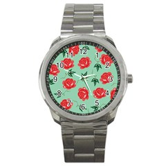 Red Floral Roses Pattern Wallpaper Background Seamless Illustration Sport Metal Watch by Nexatart