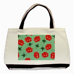 Red Floral Roses Pattern Wallpaper Background Seamless Illustration Basic Tote Bag