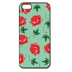 Red Floral Roses Pattern Wallpaper Background Seamless Illustration Apple Iphone 5 Seamless Case (black) by Nexatart