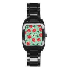 Red Floral Roses Pattern Wallpaper Background Seamless Illustration Stainless Steel Barrel Watch by Nexatart