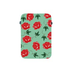 Red Floral Roses Pattern Wallpaper Background Seamless Illustration Apple Ipad Mini Protective Soft Cases by Nexatart