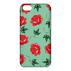Red Floral Roses Pattern Wallpaper Background Seamless Illustration Apple Iphone 5c Hardshell Case by Nexatart
