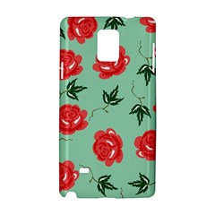 Red Floral Roses Pattern Wallpaper Background Seamless Illustration Samsung Galaxy Note 4 Hardshell Case by Nexatart