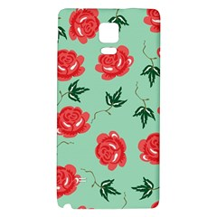 Red Floral Roses Pattern Wallpaper Background Seamless Illustration Galaxy Note 4 Back Case by Nexatart