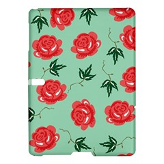 Red Floral Roses Pattern Wallpaper Background Seamless Illustration Samsung Galaxy Tab S (10 5 ) Hardshell Case  by Nexatart