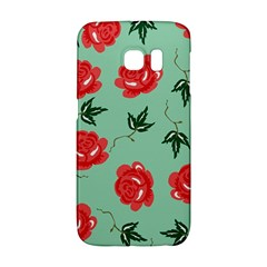 Red Floral Roses Pattern Wallpaper Background Seamless Illustration Galaxy S6 Edge by Nexatart