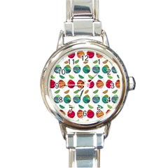 Watercolor Floral Roses Pattern Round Italian Charm Watch