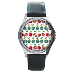 Watercolor Floral Roses Pattern Round Metal Watch