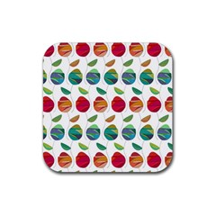 Watercolor Floral Roses Pattern Rubber Square Coaster (4 pack)