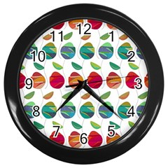 Watercolor Floral Roses Pattern Wall Clocks (Black)