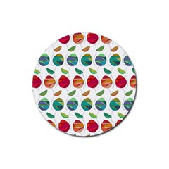 Watercolor Floral Roses Pattern Rubber Round Coaster (4 pack)