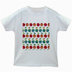 Watercolor Floral Roses Pattern Kids White T-Shirts