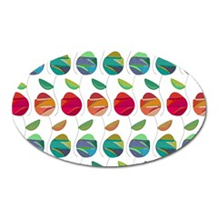 Watercolor Floral Roses Pattern Oval Magnet