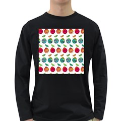 Watercolor Floral Roses Pattern Long Sleeve Dark T-Shirts