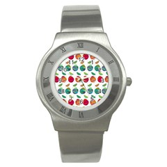 Watercolor Floral Roses Pattern Stainless Steel Watch