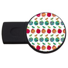 Watercolor Floral Roses Pattern USB Flash Drive Round (4 GB)