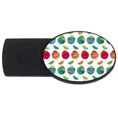 Watercolor Floral Roses Pattern USB Flash Drive Oval (4 GB)