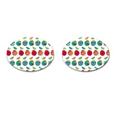 Watercolor Floral Roses Pattern Cufflinks (Oval)