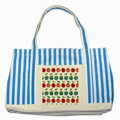 Watercolor Floral Roses Pattern Striped Blue Tote Bag