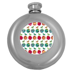 Watercolor Floral Roses Pattern Round Hip Flask (5 oz)