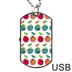 Watercolor Floral Roses Pattern Dog Tag USB Flash (Two Sides)
